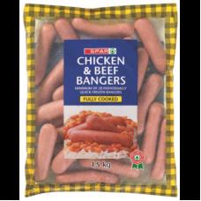 SPAR CHICKEN & BEEF BANGERS 1.5KG
