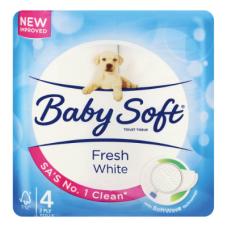 BABYSOFT 2PLY TOILET ROLLS WHITE 4'S