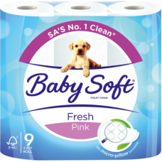 BABYSOFT 2PLY TOILET ROLLS PRINTED PINK 9'S