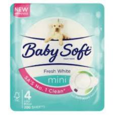 BABYSOFT 2PLY TOILET ROLLS WHITE MINI 4'S