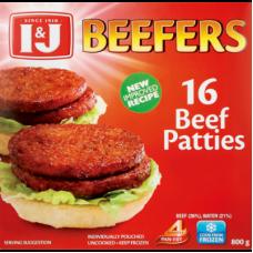I&J BEEFERS BEEF PATTIES 16'S 800GR