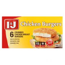 I&J CHICKEN BURGERS CRUMBED 6'S 400GR