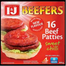 I&J BEEFERS BEEF PATTIES SWEET CHILLI 16'S 800GR
