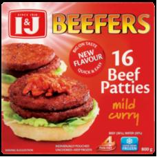 I&J BEEFERS BEEF PATTIES MILD CURRY 16'S 800GR