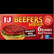 I&J BEEFERS JUMBO BEEF PATTIES BBQ 6'S 600GR