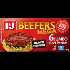 I&J BEEFERS JUMBO BEEF PATTIES BLACK PEPPER 6'S 600GR