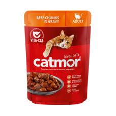 CATMOR ADULT BEEF CHUNKS IN GRAVY 85GR