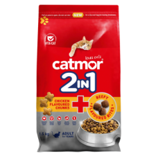 CATMOR ADULT 2 IN 1 CHICKEN FLAVOURED CHUNKS & BEEFY FLAVOURED BITES 1.5KG