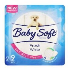BABY SOFT TOILET ROLL 2PLY WHITE 9'S